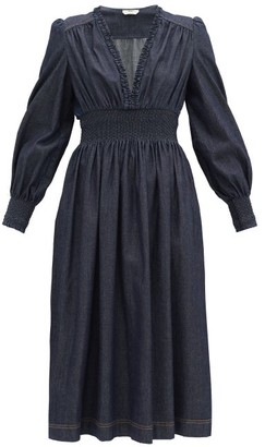 Fendi Smocked Chambray Midi Dress - Indigo