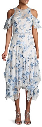 Marchesa Notte Floral Patch Cold-Shoulder Lace Midi Dress