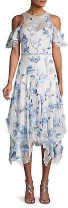 Marchesa Floral Patch Cold-Shoulder Lace Midi Dress