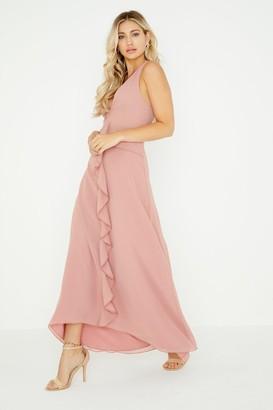 Little Mistress Ambrose Apricot Plunge Maxi Dress