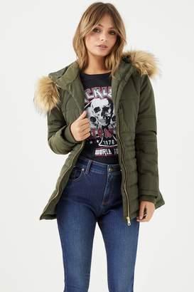 boohoo Womens Fur Hood Padded Coat - Green