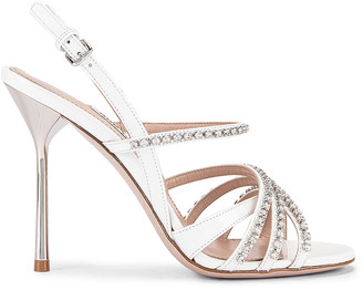 Miu Miu Jewel Slingback Heels in White | FWRD