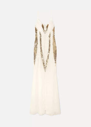 Temperley London Moondrop Sequined Corded Chiffon Maxi Dress - White