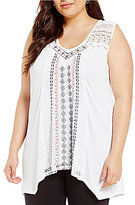 Multiples Plus Double V-Neck Solid Knit Sleeveless Lace Top
