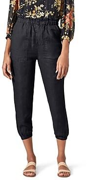 Joie Derren Linen Paperbag-Waist Cropped Pants