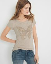 White House Black Market Living Beyond Breast Cancer Butterfly Tee