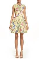 Monique Lhuillier Women's Garden Print Lace Fit & Flare Dress