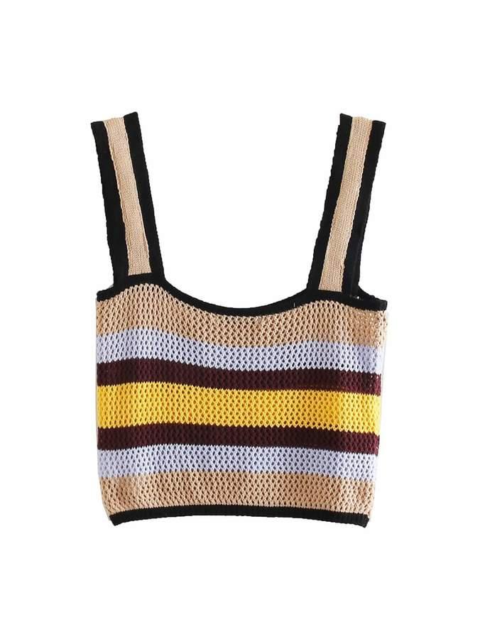 Shein Striped Crop Sweater