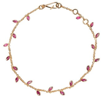 Annoushka 18kt yellow gold Vine Leaf ruby bracelet