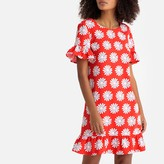 La Redoute Collections Floral Print Flared Midi Dress with Peplum