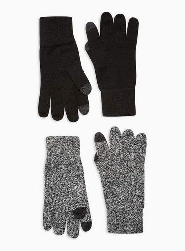 Topman Mens Multi Salt And Pepper Touchscreen Gloves 2 Pack