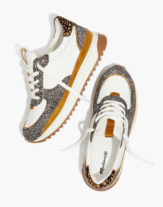 Madewell Kickoff Trainer Sneakers in Leather and Spot Mix Calf Hair