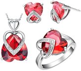 Babao Jewelry Jewelry Sets Babao Jewelry Sweet Love Heart Red 18K Platinum Plated Cubic Zirconia Crystals Pendant Necklace Earrings Set with 925 Sterling Silver Necklace Ring Size 9