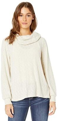 Miss Me Cowl Neck Long Sleeve Top (Beige) Women's Clothing