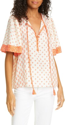 Rebecca Taylor Lily Mix Print Short Sleeve Silk Blouse