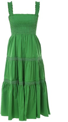Tory Burch Smocked-Waist Midi Dress