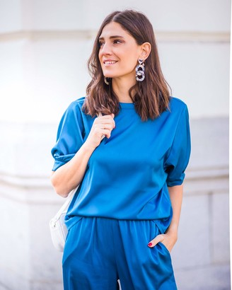The Drop Women's Sapphire Blue Puff Sleeve Top by @balamoda