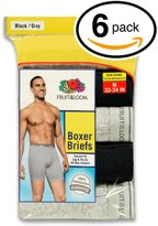 Fruit of the Loom Men's 6Pack Black Grey Boxer Briefs 100% Cotton Underwear 4XL