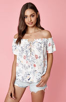 KENDALL + KYLIE Kendall & Kylie Lace-Up Off-The Shoulder Top