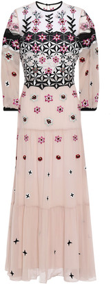 Temperley London Finale Embroidered Tulle And Georgette Midi Dress