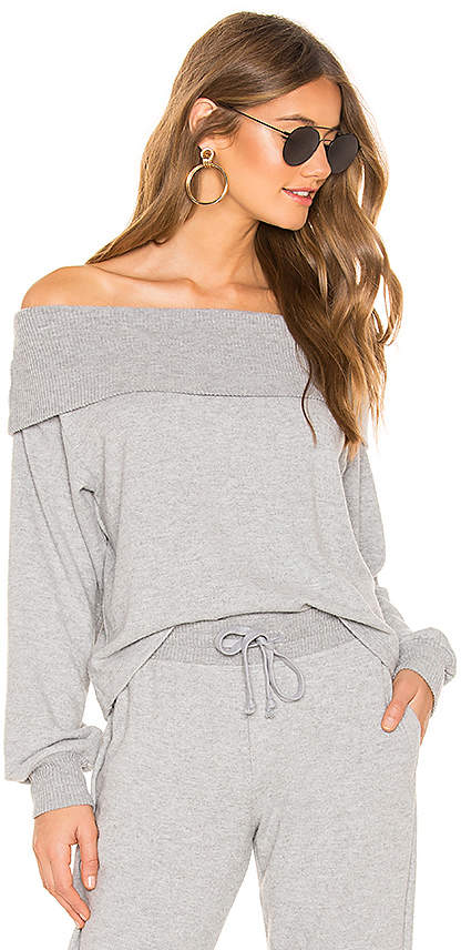 1 STATE Fold Over Off The Shoulder Sweatshirt