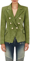 Balmain Women's Suede Double-Breasted Blazer-GREEN, DARK GREEN