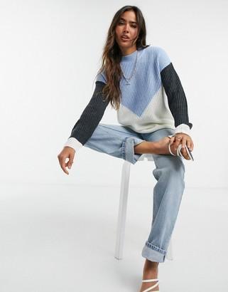 AX Paris chevron colour-block jumper in multi