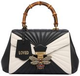 Gucci Bee Two Tone Leather & Bamboo Bag