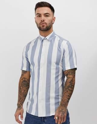 ONLY & SONS regular fit smart shirt in stripe-Navy