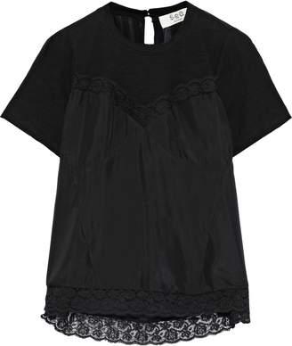 Sea Whitley Jersey-paneled Silk-chiffon Top