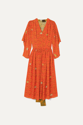 Loewe Paula's Ibiza Paneled Printed Crepe De Chine Dress - Orange