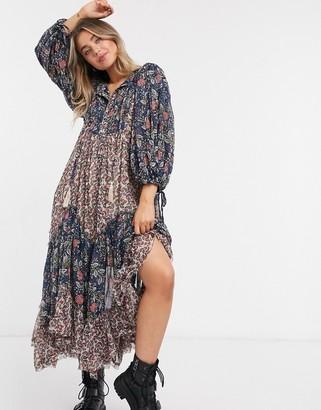 Free People Estelle chiffon printed maxi dress in multi print