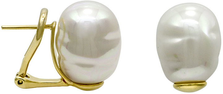 Majorica White Pearl Earrings, Post Backs