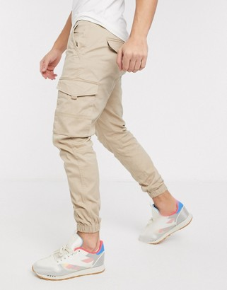 Jack and Jones Intelligence slim fit cuffed cargo trousers in light sand
