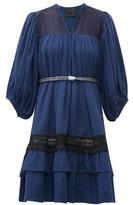 Binetti Love Lace-trim Tie-waist Tiered Cotton Dress - Womens - Dark Blue