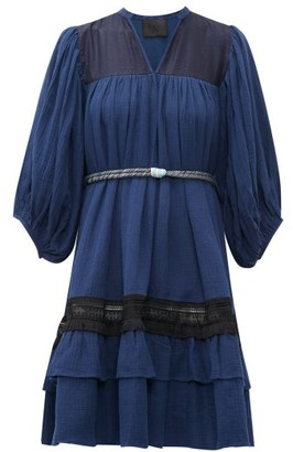 Binetti Love Lace Trim Tie Waist Tiered Cotton Dress - Womens - Dark Blue