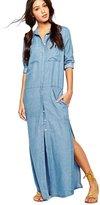 Moonpin Women's Maxi Single Breasted Slit Denim Shift Dress S