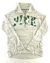 Victoria's Secret Pink High Neck Half Zip Fern Print Sweatshirt