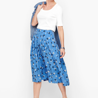 Talbots Daisy Dot Pleated Full Skirt