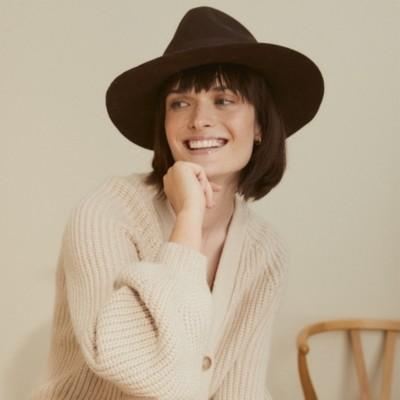 The White Company Christys Wool Felt Fedora Hat, Chocolate, One Size