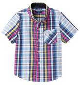 Andy & Evan Madras Short Sleeve Shirt (Toddler & Little Boys)