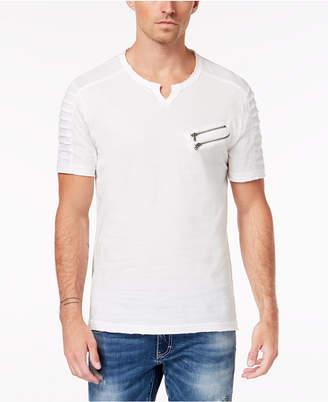 INC International Concepts Inc Men Split-Neck Zipper T-Shirt