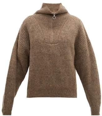Etoile Isabel Marant Mclean Half-zip Ribbed Sweater - Womens - Brown