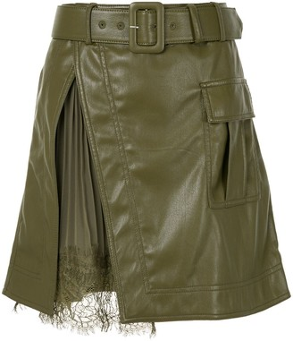 Self-Portrait Pleat-Detail Belted Skirt