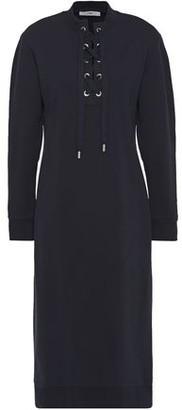 Tibi Lace-up French Cotton-terry Midi Dress