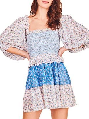 LoveShackFancy Shaw Ditsy Floral Mini Dress