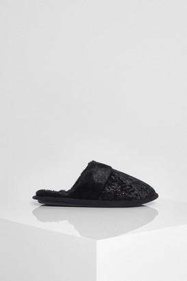 boohoo Sparkle Velvet Slippers