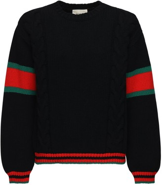 Gucci Wool Cable Knit Sweater W/Web Detail