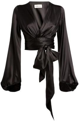 Alexandre Vauthier Silk Tie-Waist Blouse