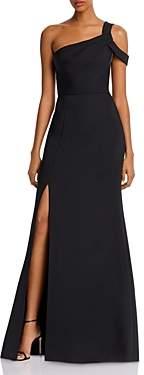 BCBGMAXAZRIA Matte Satin One-Shoulder Gown